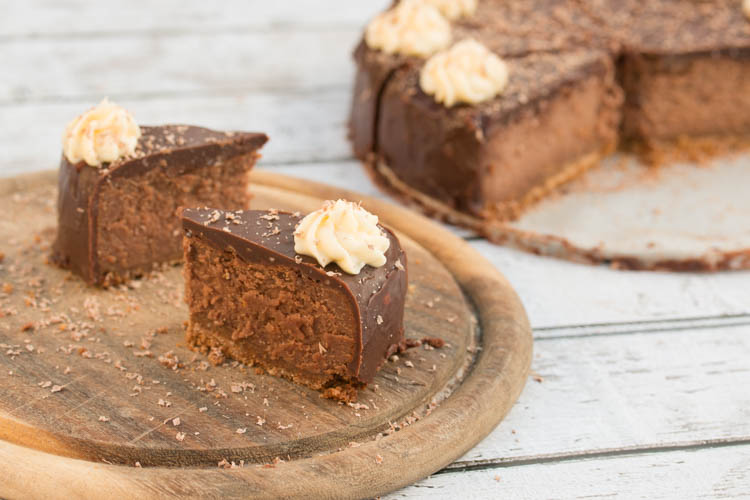 Luxe salted caramel chocolate cheesecake